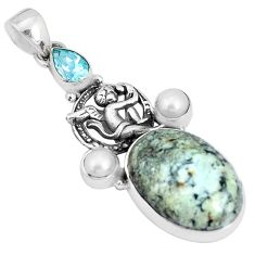 925 silver natural green norwegian turquoise cupid angel wings pendant p25560