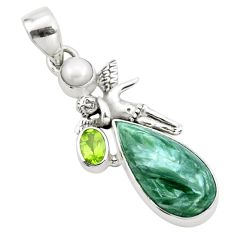 10.60cts natural green seraphinite 925 silver angel wings fairy pendant p25581