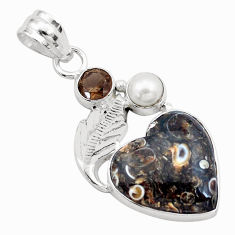925 silver natural brown turritella fossil snail agate heart pendant p25590