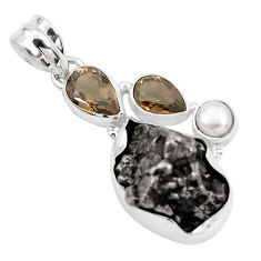 32.48cts natural campo del cielo smoky topaz pearl 925 silver pendant p25982