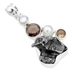 30.40cts natural campo del cielo smoky topaz pearl 925 silver pendant p25991