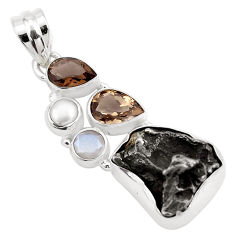 925 silver 25.60cts natural campo del cielo smoky topaz pearl pendant p25993