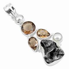 29.40cts natural campo del cielo smoky topaz pearl 925 silver pendant p25994