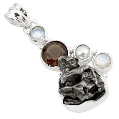 29.75cts natural campo del cielo smoky topaz pearl 925 silver pendant p25996