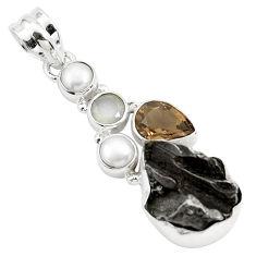 925 silver 25.57cts natural campo del cielo (meteorite) pearl pendant p26000