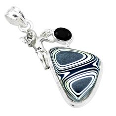 13.55cts fordite detroit agate onyx 925 silver angel wings fairy pendant p26127