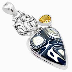 13.09cts fordite detroit agate 925 silver cupid angel wings pendant p26138