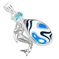 925 silver 13.87cts fordite detroit agate topaz fairy mermaid pendant p26140