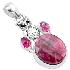 925 sterling silver 14.12cts natural pink tourmaline owl pendant jewelry p26176
