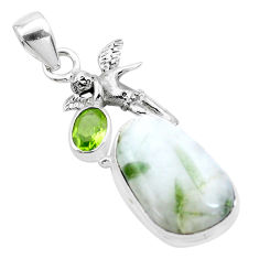 Natural green tourmaline in quartz 925 silver cupid angel wings pendant p26203