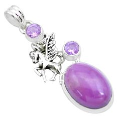 925 silver 15.16cts natural purple phosphosiderite unicorn pendant p26205