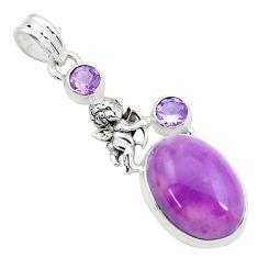 925 silver natural purple phosphosiderite cupid angel wings pendant p26215