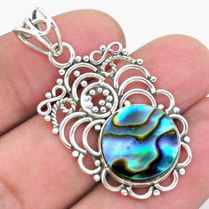 8.91cts natural green abalone paua seashell 925 sterling silver pendant p26501