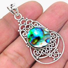8.09cts natural green abalone paua seashell 925 sterling silver pendant p26502
