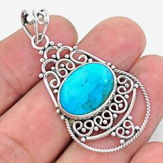 9.18cts green arizona mohave turquoise 925 sterling silver pendant p26509
