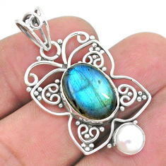 6.53cts natural blue labradorite pearl 925 silver butterfly pendant p26575