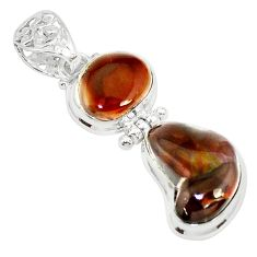 16.46cts natural multi color mexican fire agate 925 silver pendant p26941