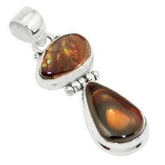 925 silver 13.77cts natural multi color mexican fire agate fancy pendant p26944