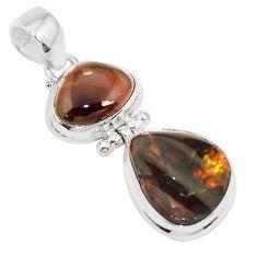 14.72cts natural multi color mexican fire agate 925 silver pendant p26956
