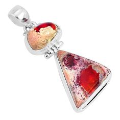 17.36cts natural multicolor mexican fire opal 925 sterling silver pendant p26961