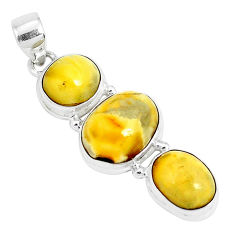 15.39cts natural yellow amber bone 925 sterling silver pendant jewelry p26986