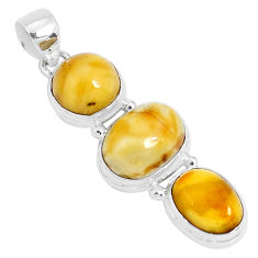 14.90cts natural yellow amber bone 925 sterling silver pendant jewelry p26992