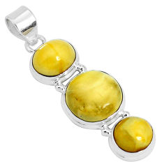 14.40cts natural yellow amber bone 925 sterling silver pendant jewelry p26994