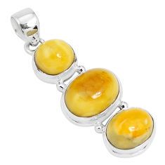 925 sterling silver 15.85cts natural yellow amber bone pendant jewelry p26995