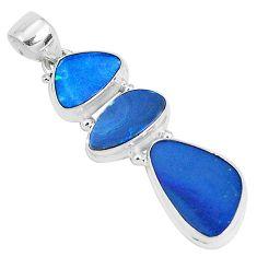 11.66cts natural blue doublet opal australian 925 sterling silver pendant p27051