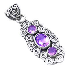 2.81cts natural purple amethyst 925 sterling silver pendant jewelry p27602
