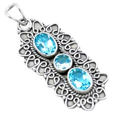 925 sterling silver 4.94cts natural blue topaz oval pendant jewelry p27604