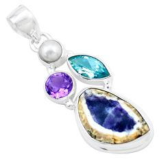 925 sterling silver 12.06cts natural purple opal amethyst pearl pendant p27610