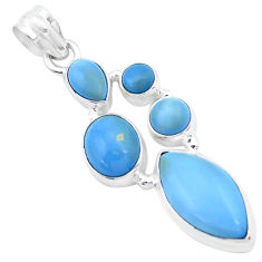 13.77cts natural blue owyhee opal 925 sterling silver pendant jewelry p27618