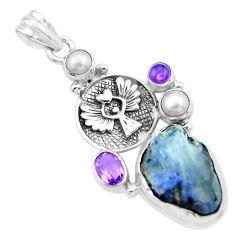 Natural blue dumortierite rough amethyst 925 silver eagle pendant p27638