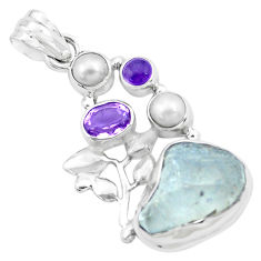 13.34cts natural blue dumortierite rough amethyst 925 silver pendant p27639