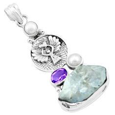925 silver natural blue dumortierite rough amethyst pearl eagle pendant p27640