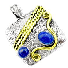 2.68cts victorian natural blue lapis lazuli 925 silver two tone pendant p27641