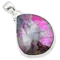 16.73cts natural pink ruby in fuchsite 925 sterling silver pendant p27643
