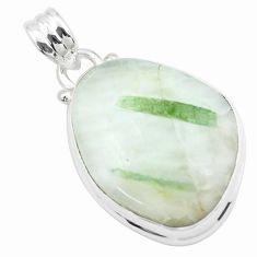 18.15cts natural green tourmaline in quartz 925 sterling silver pendant p27648