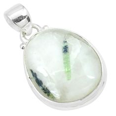 17.22cts natural green tourmaline in quartz 925 sterling silver pendant p27649