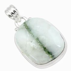 19.72cts natural green tourmaline in quartz 925 sterling silver pendant p27653