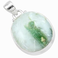 19.72cts natural green tourmaline in quartz 925 sterling silver pendant p27654