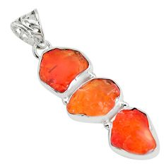925 sterling silver 16.54cts natural orange mexican fire opal pendant p28030