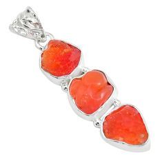 925 sterling silver 16.54cts natural orange mexican fire opal pendant p28040