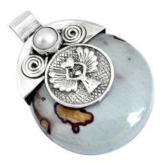 39.94cts natural brown coffee bean jasper white pearl 925 silver pendant p28193