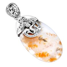 37.41cts natural yellow plume agate 925 silver cupid angel wings pendant p28230
