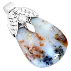41.25cts natural scenic russian dendritic agate pearl 925 silver pendant p28303