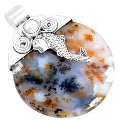 925 silver 36.70cts natural scenic russian dendritic agate fish pendant p28304