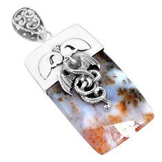 925 silver 47.01cts natural scenic russian dendritic agate dragon pendant p28310