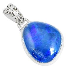 13.70cts natural blue australian opal triplet 925 sterling silver pendant p28497